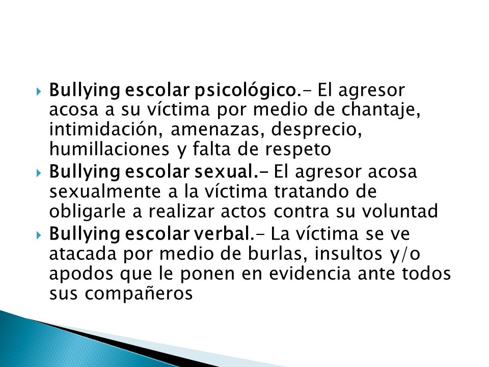 Bullying escolar psicológico