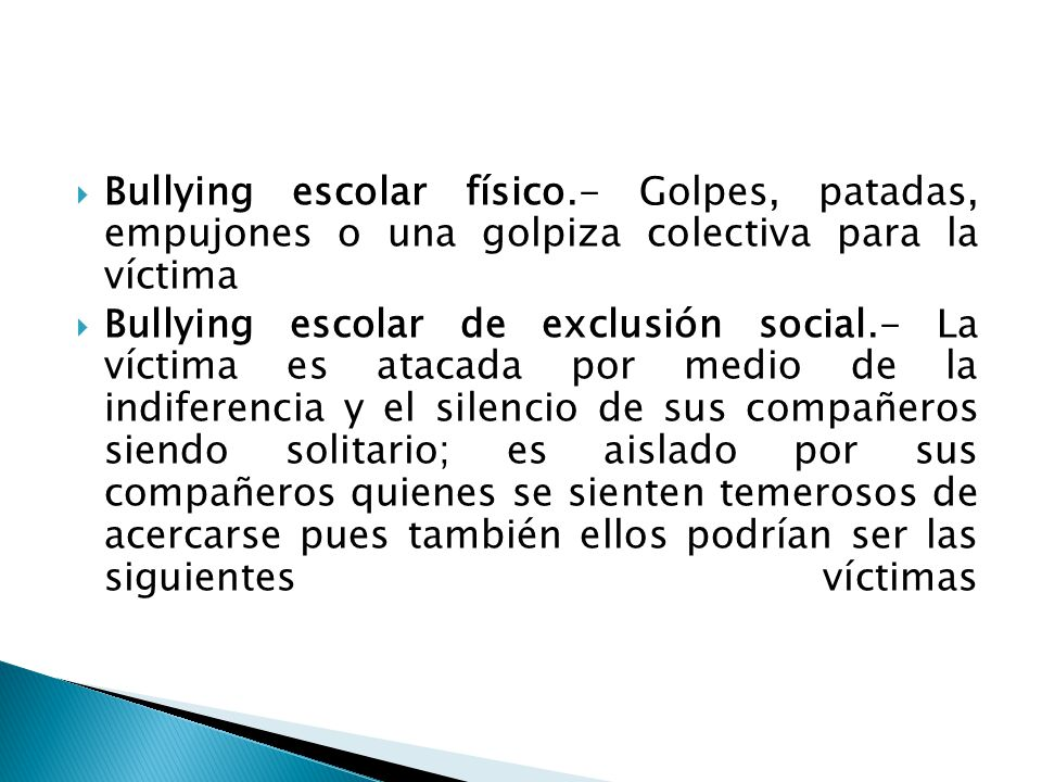 Bullying escolar físico
