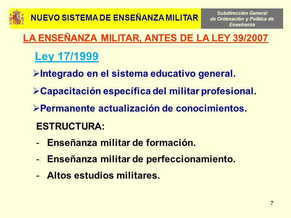 Ley 17/1999 LA ENSEÑANZA MILITAR, ANTES DE LA LEY 39/2007