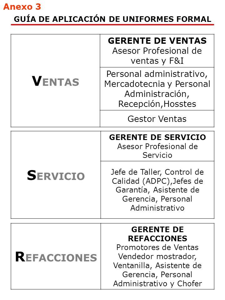 GUÍA DE APLICACIÓN DE UNIFORMES FORMAL