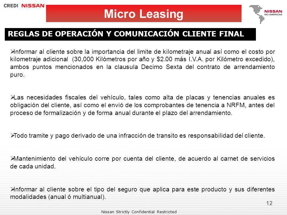 Micro Leasing REGLAS DE OPERACIÓN Y COMUNICACIÓN CLIENTE FINAL