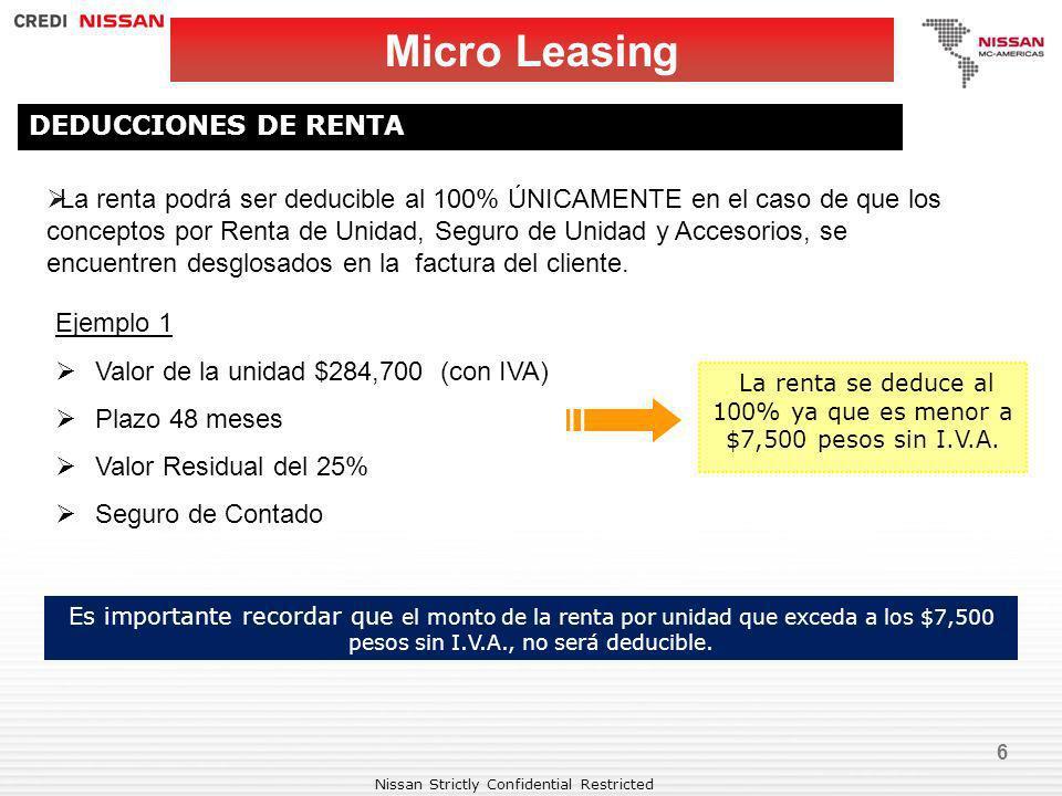 La renta se deduce al 100% ya que es menor a $7,500 pesos sin I.V.A.