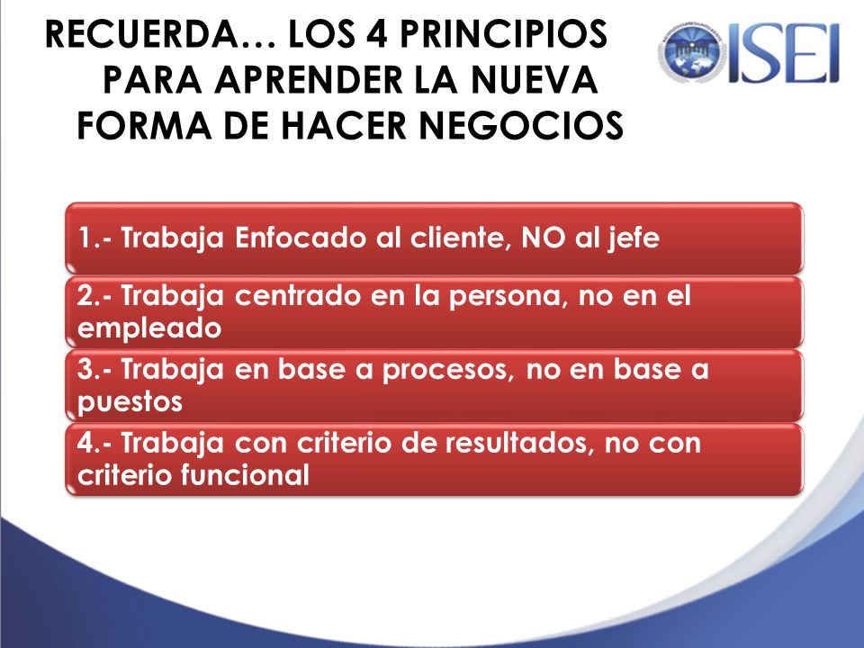 RECUERDA… LOS 4 PRINCIPIOS PARA APRENDER LA NUEVA FORMA DE HACER NEGOCIOS