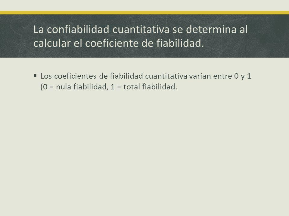 La confiabilidad cuantitativa se determina al calcular el coeficiente de fiabilidad.