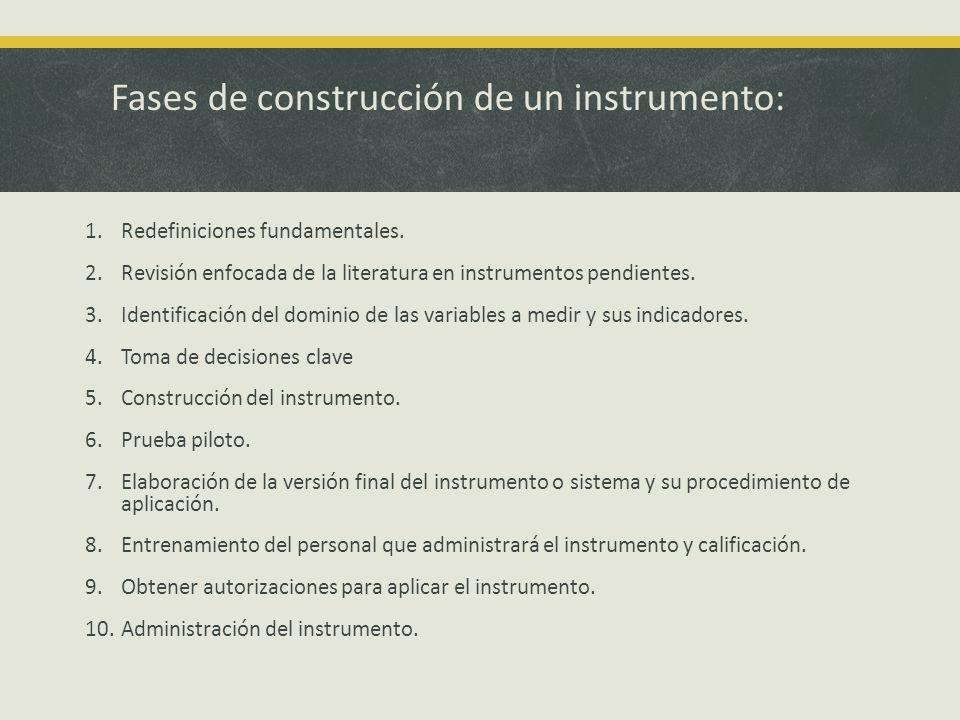 Fases de construcción de un instrumento: