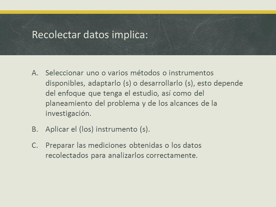 Recolectar datos implica: