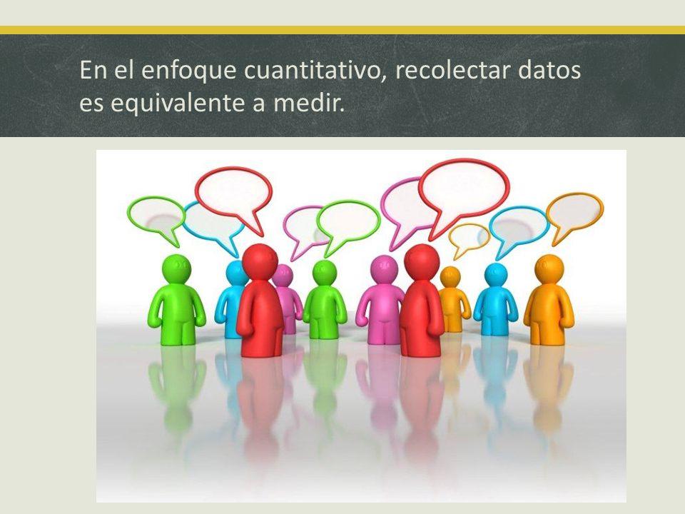 En el enfoque cuantitativo, recolectar datos es equivalente a medir.