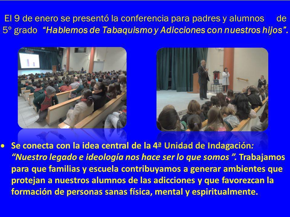 El 9 de enero se presentó la conferencia para padres y alumnos de 5º grado Hablemos de Tabaquismo y Adicciones con nuestros hijos .