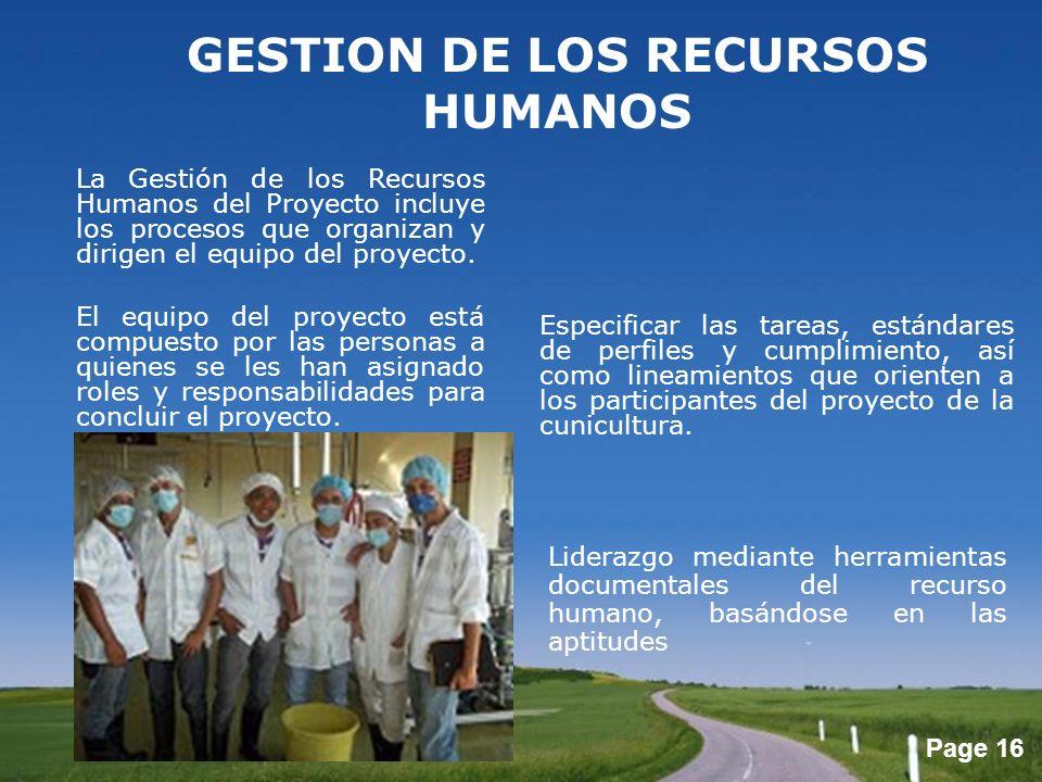 GESTION DE LOS RECURSOS HUMANOS