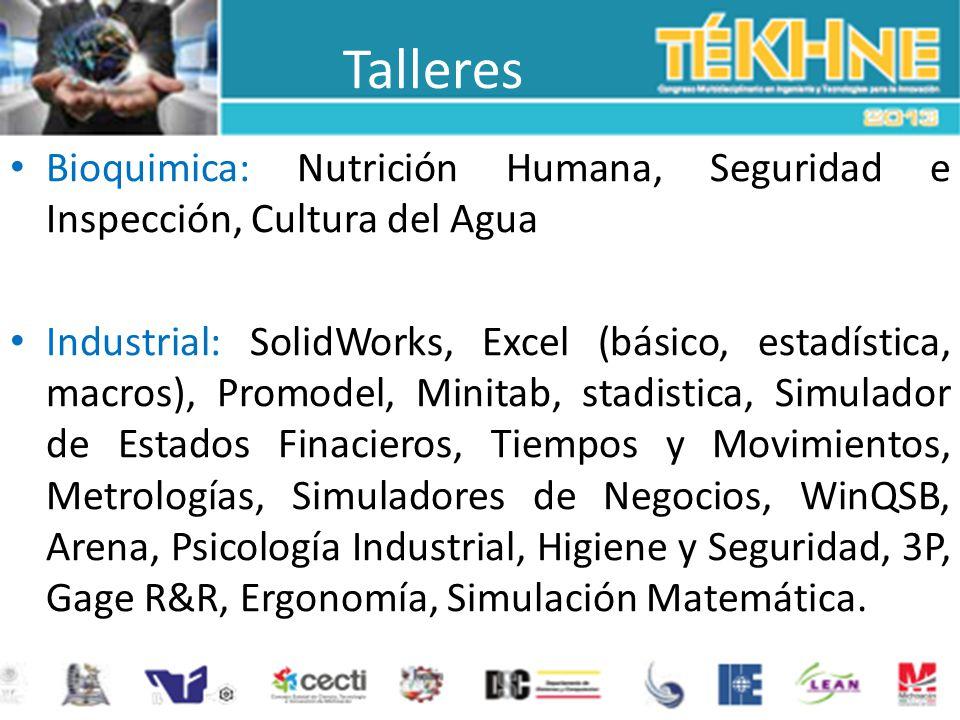 Talleres Bioquimica: Nutrición Humana, Seguridad e Inspección, Cultura del Agua.
