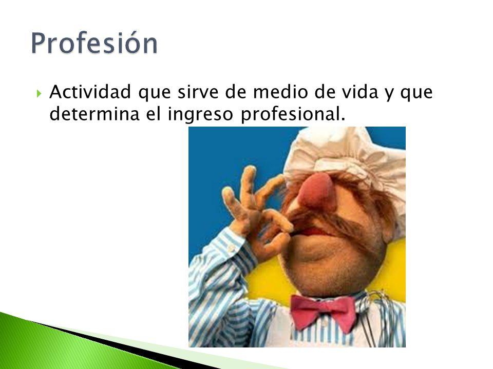 Profesión Actividad que sirve de medio de vida y que determina el ingreso profesional.