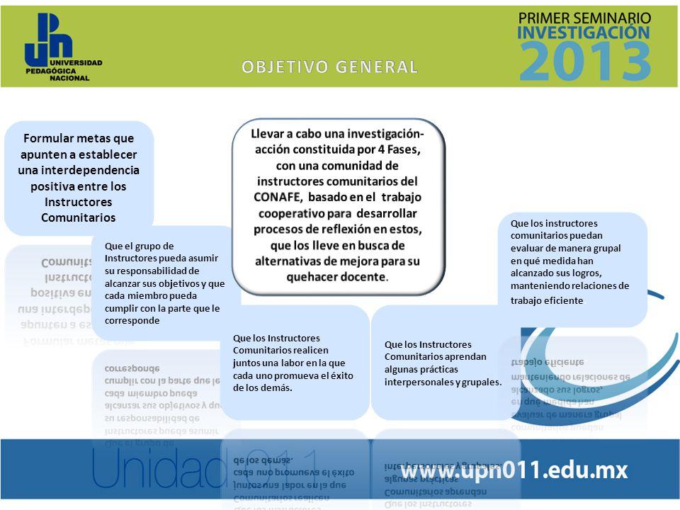 OBJETIVO GENERAL Formular metas que apunten a establecer una interdependencia positiva entre los Instructores Comunitarios.