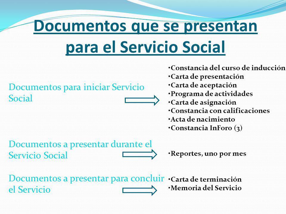 Documentos que se presentan para el Servicio Social