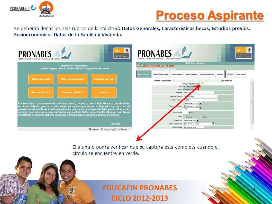 Proceso Aspirante EDUCAFIN PRONABES CICLO 2012-2013