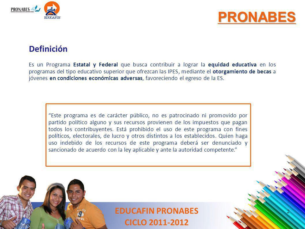 PRONABES Definición EDUCAFIN PRONABES CICLO 2011-2012