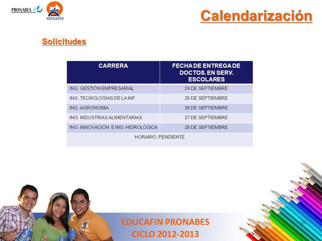 FECHA DE ENTREGA DE DOCTOS. EN SERV. ESCOLARES