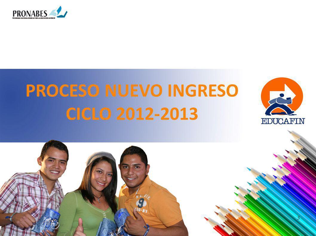 PROCESO NUEVO INGRESO CICLO 2012-2013