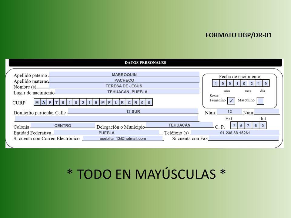 FORMATO DGP/DR-01 * TODO EN MAYÚSCULAS *