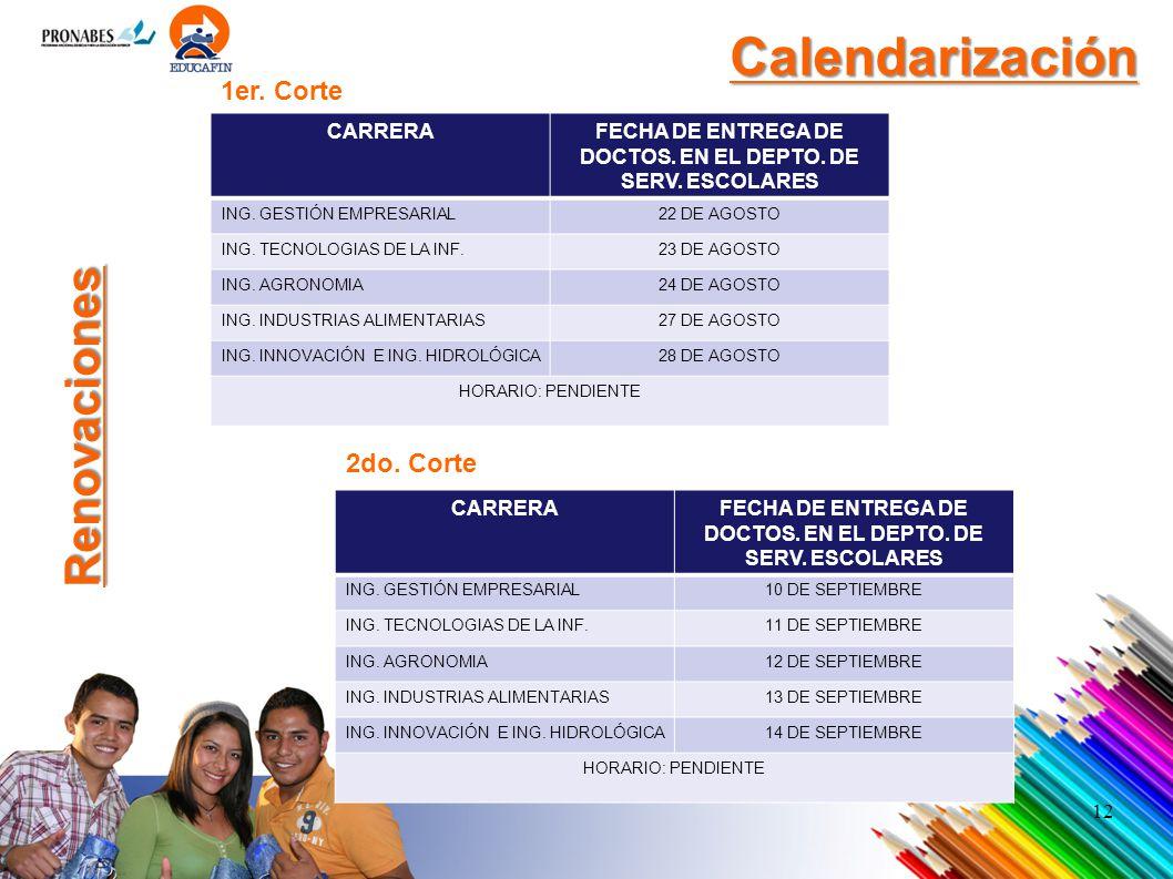 Calendarización Renovaciones 1er. Corte 2do. Corte CARRERA