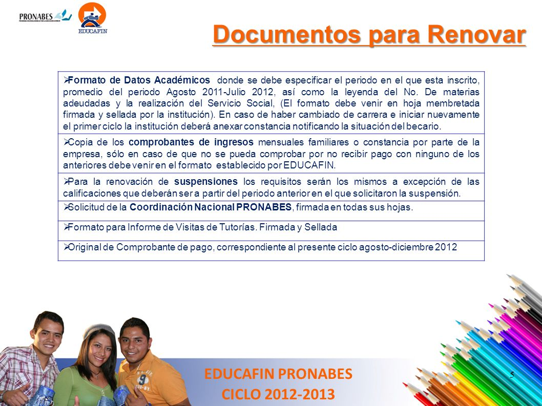 Documentos para Renovar