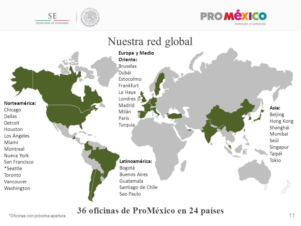 36 oficinas de ProMéxico en 24 países