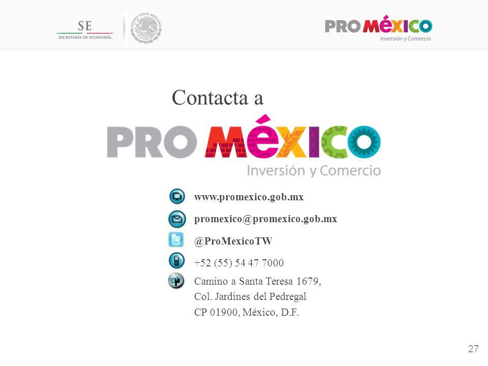 Contacta a www.promexico.gob.mx promexico@promexico.gob.mx