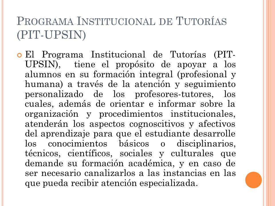Programa Institucional de Tutorías (PIT-UPSIN)
