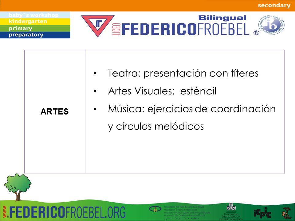 Teatro: presentación con títeres Artes Visuales: esténcil