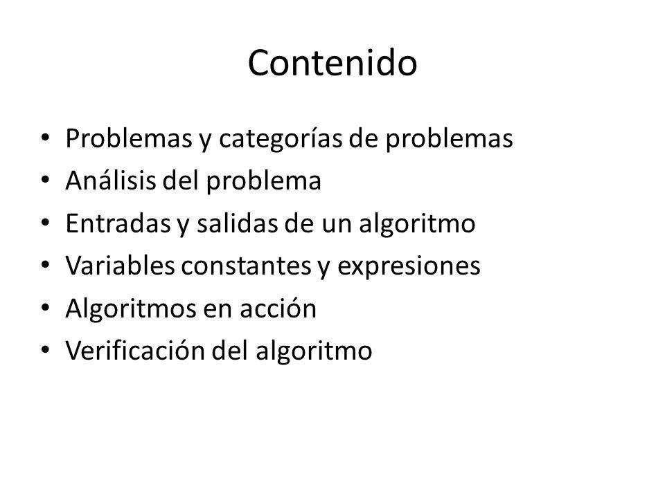 Contenido Problemas y categorías de problemas Análisis del problema