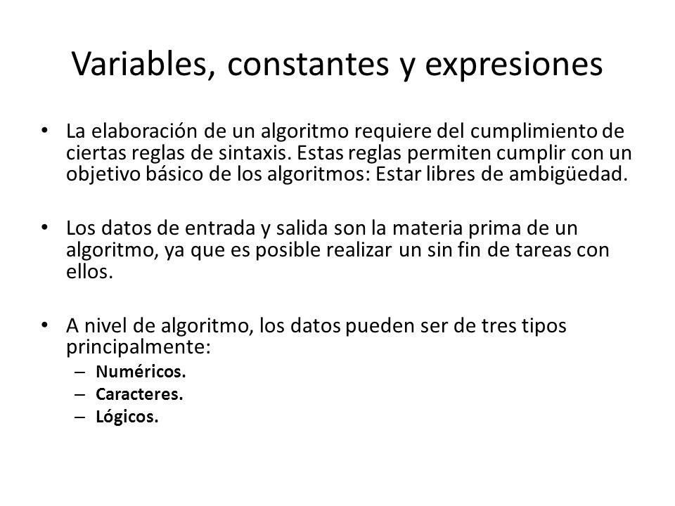 Variables, constantes y expresiones