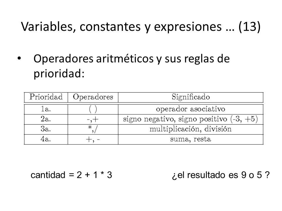 Variables, constantes y expresiones … (13)