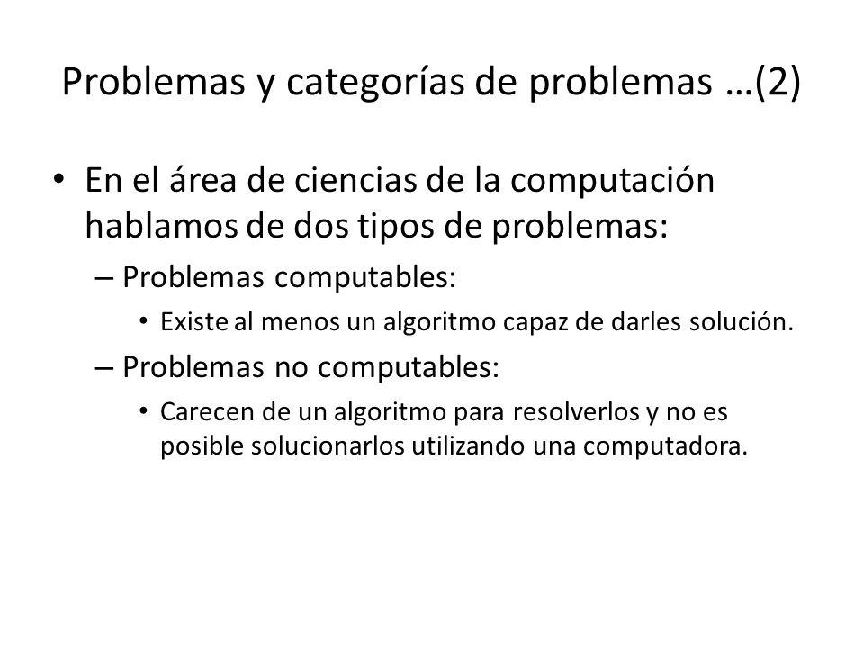 Problemas y categorías de problemas …(2)