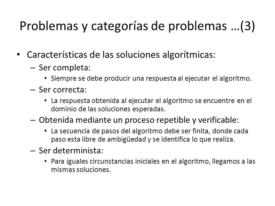 Problemas y categorías de problemas …(3)