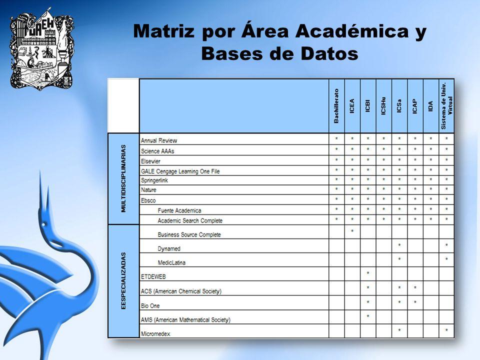 Matriz por Área Académica y Bases de Datos
