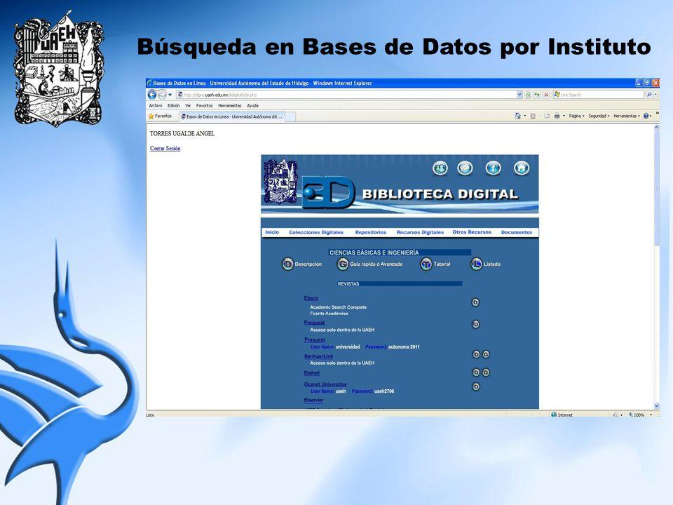 Búsqueda en Bases de Datos por Instituto