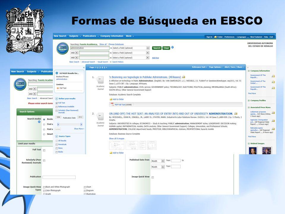 Formas de Búsqueda en EBSCO