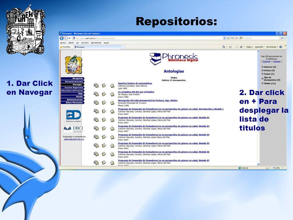 Repositorios: 1. Dar Click en Navegar
