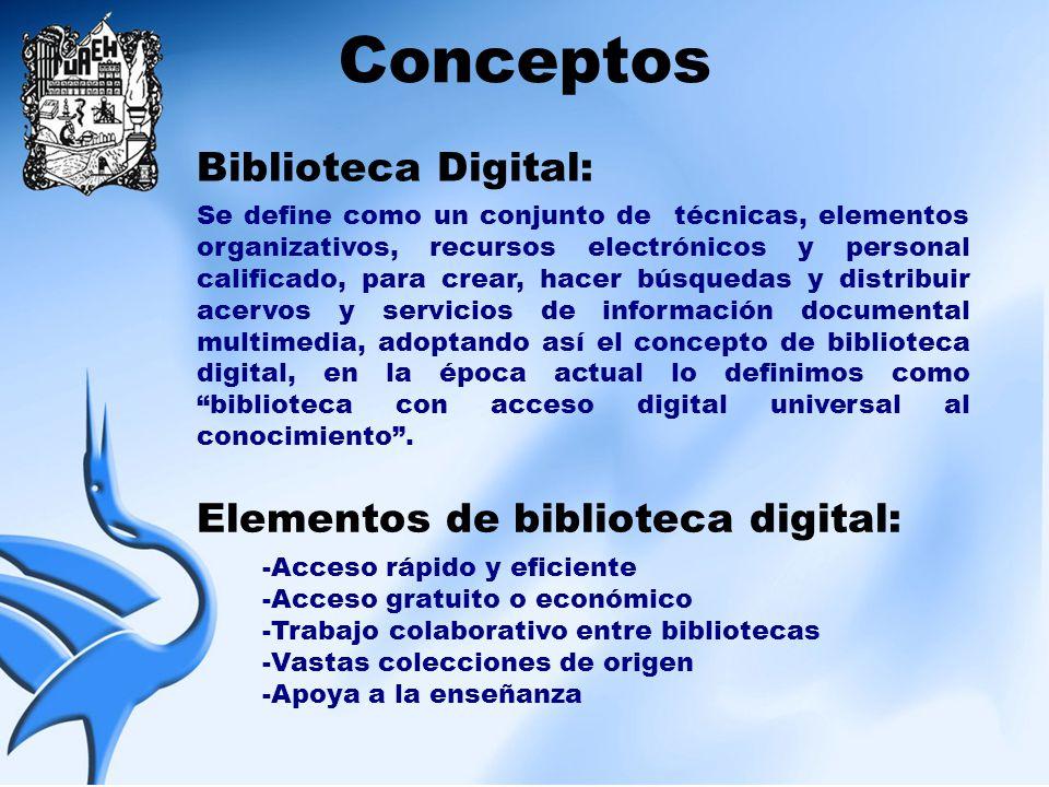 Conceptos Biblioteca Digital: Elementos de biblioteca digital: