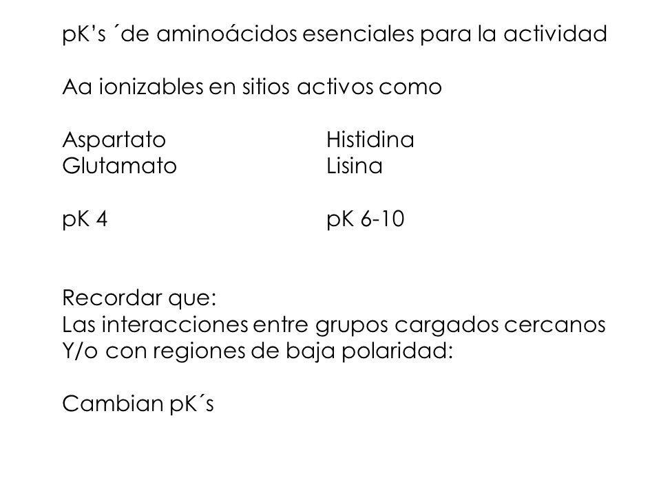 pK's ´de aminoácidos esenciales para la actividad