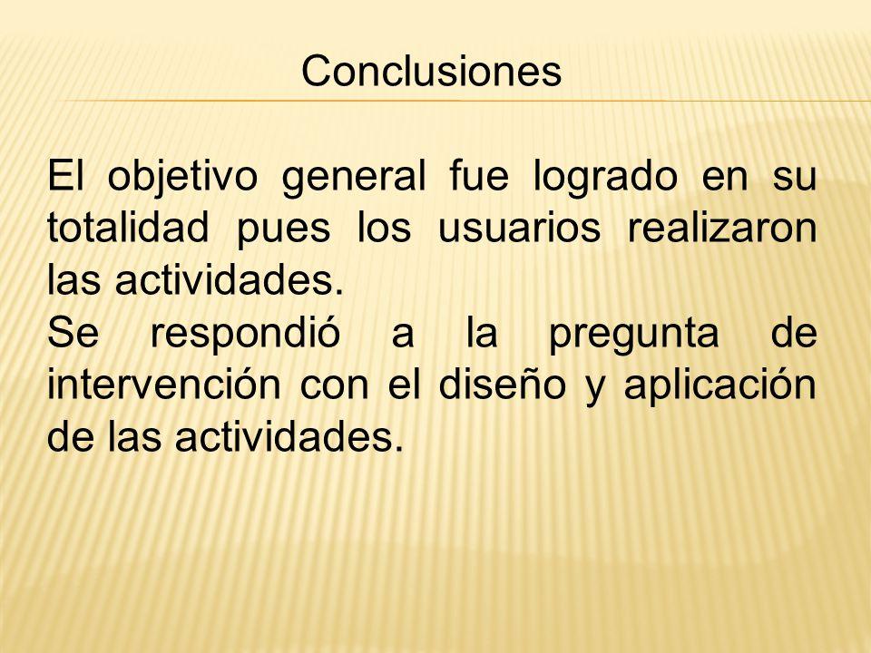 Conclusiones El objetivo general fue logrado en su totalidad pues los usuarios realizaron las actividades.