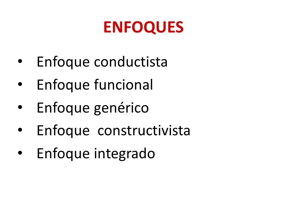 ENFOQUES Enfoque conductista Enfoque funcional Enfoque genérico