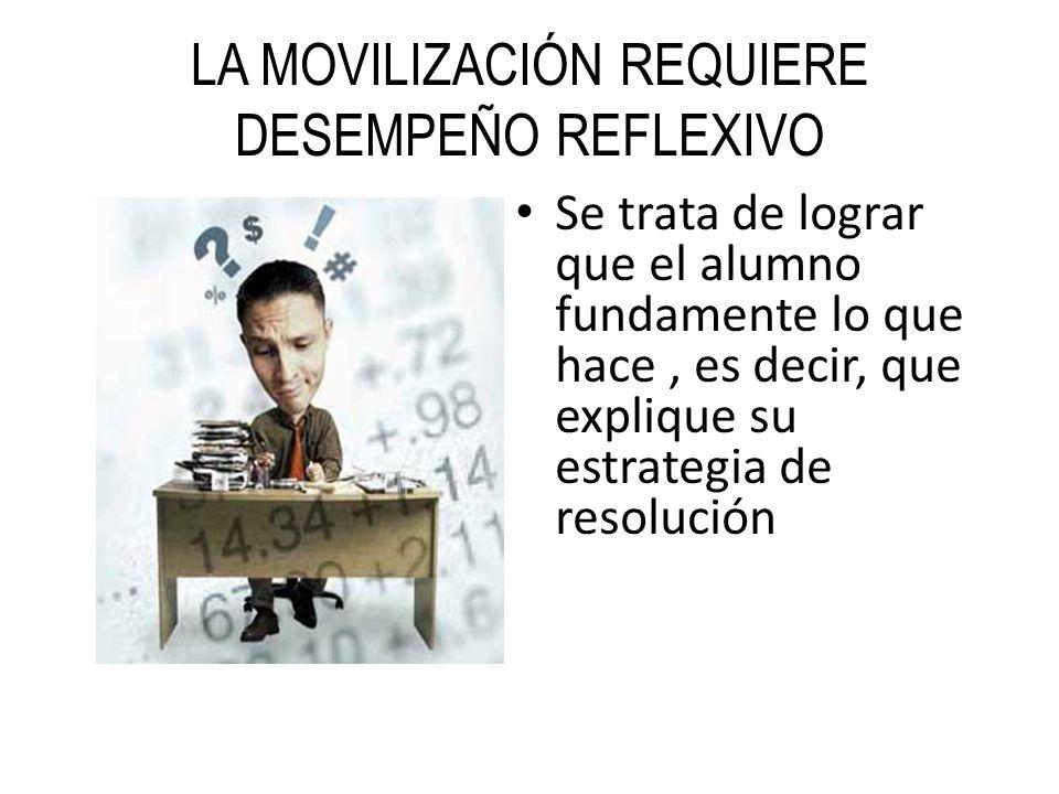 LA MOVILIZACIÓN REQUIERE DESEMPEÑO REFLEXIVO