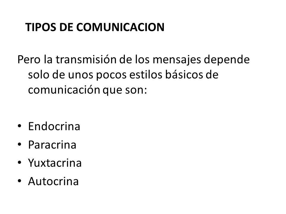 TIPOS DE COMUNICACION Pero la transmisión de los mensajes depende solo de unos pocos estilos básicos de comunicación que son: