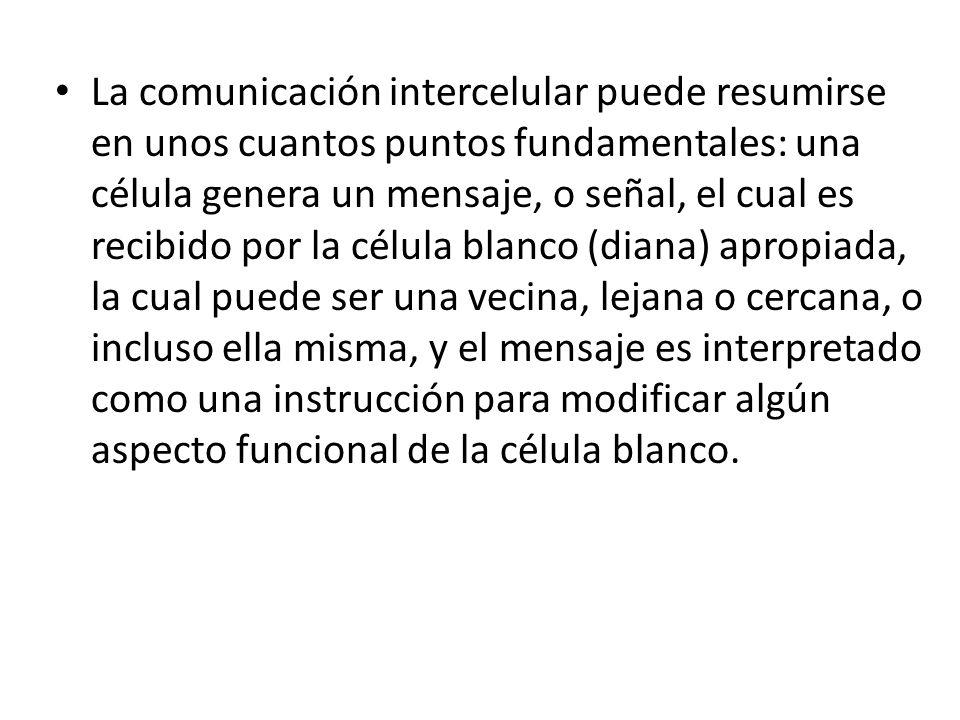 La comunicación intercelular puede resumirse en unos cuantos puntos fundamentales: una célula genera un mensaje, o señal, el cual es recibido por la célula blanco (diana) apropiada, la cual puede ser una vecina, lejana o cercana, o incluso ella misma, y el mensaje es interpretado como una instrucción para modificar algún aspecto funcional de la célula blanco.