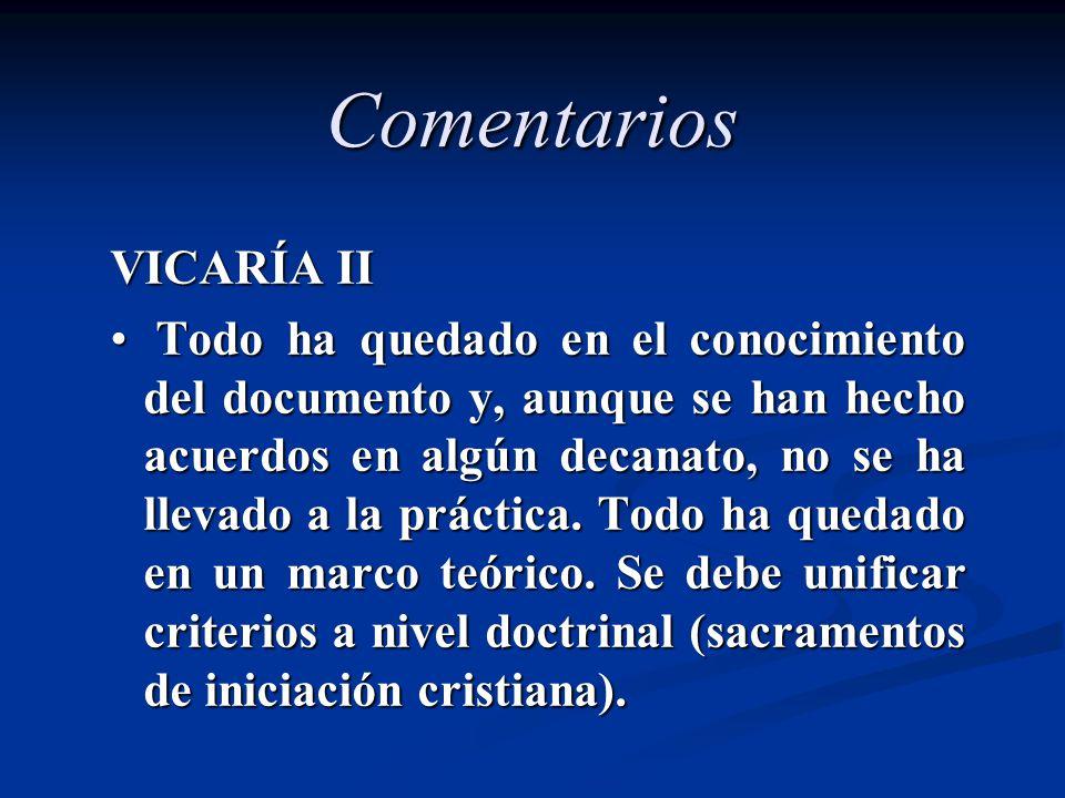 Comentarios VICARÍA II