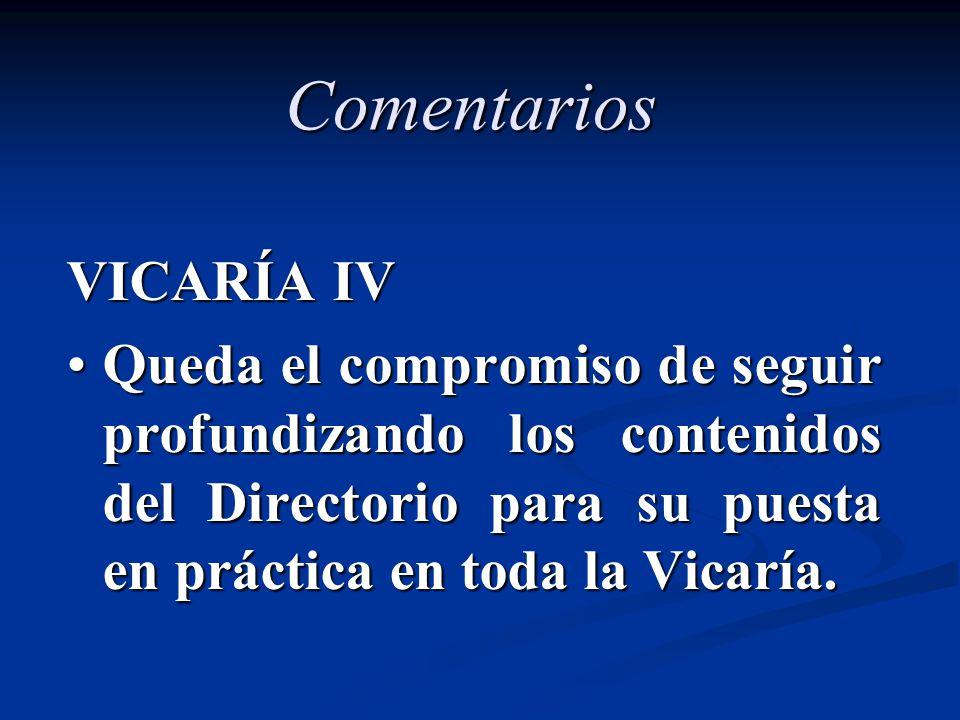 Comentarios VICARÍA IV