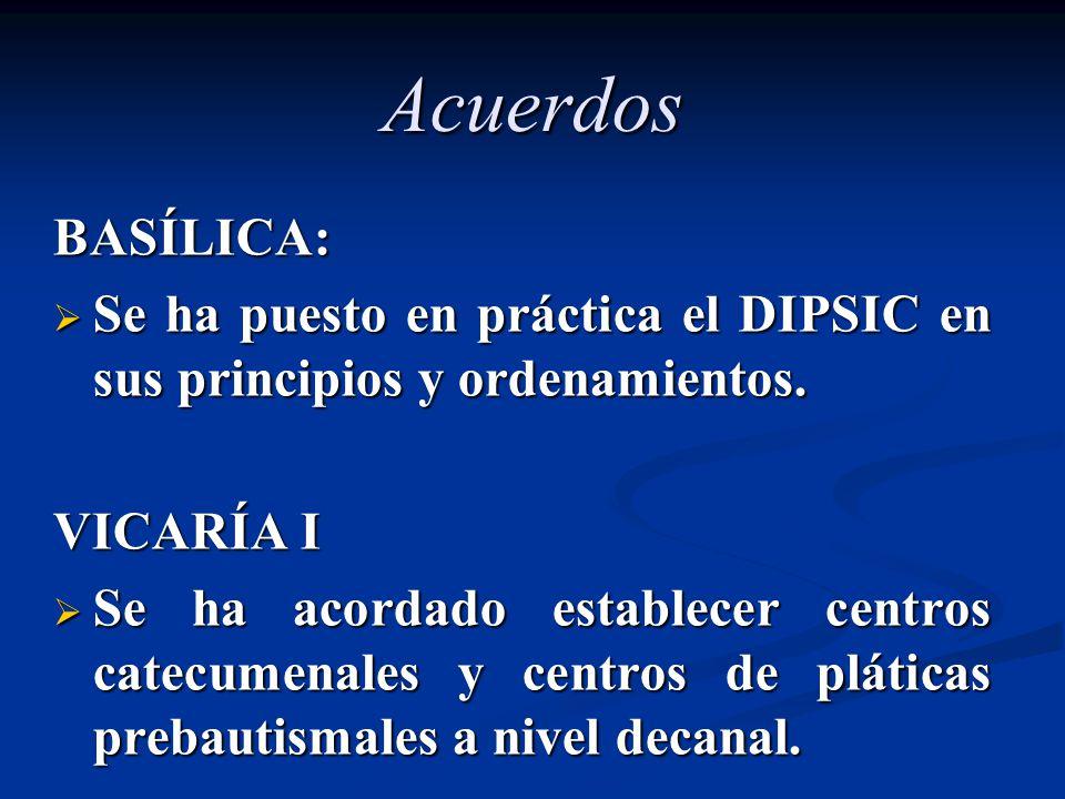 Acuerdos BASÍLICA: Se ha puesto en práctica el DIPSIC en sus principios y ordenamientos. VICARÍA I.