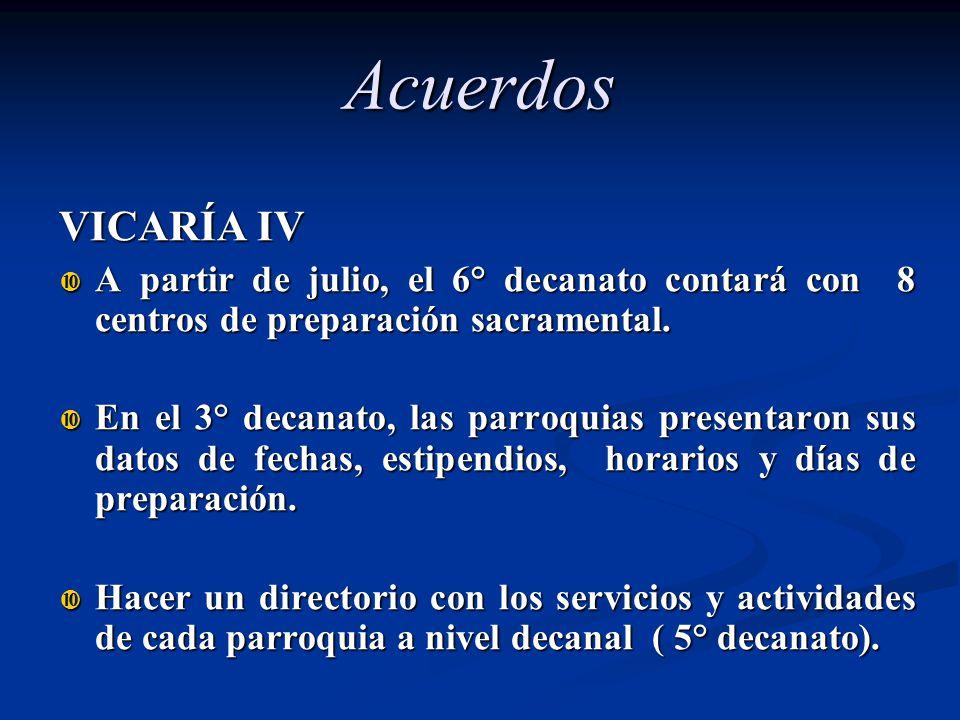 Acuerdos VICARÍA IV. A partir de julio, el 6° decanato contará con 8 centros de preparación sacramental.