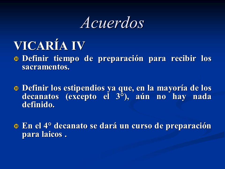 Acuerdos VICARÍA IV. Definir tiempo de preparación para recibir los sacramentos.