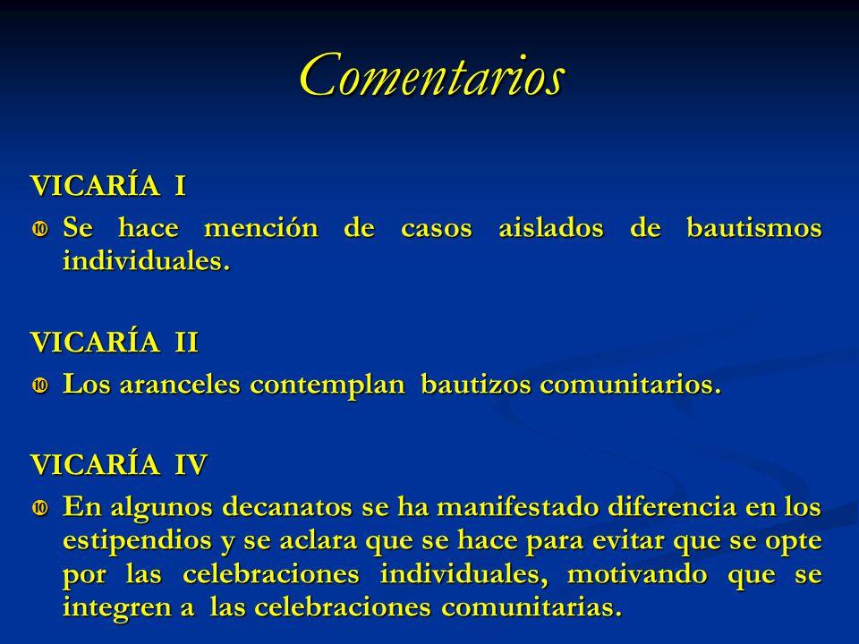 Comentarios VICARÍA I. Se hace mención de casos aislados de bautismos individuales. VICARÍA II.